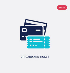 two color cit card and ticket icon from business vector image