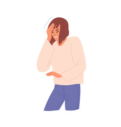 unhappy young woman suffering from headache vector image