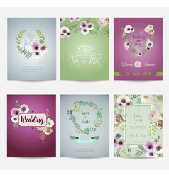 Vintage Flowers Card Set - for Wedding Birthday vector image