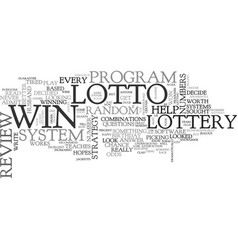win that lotto review good or bad text word cloud vector image