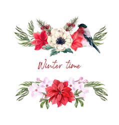 Winter bloom bouquet design with lilies taxus vector
