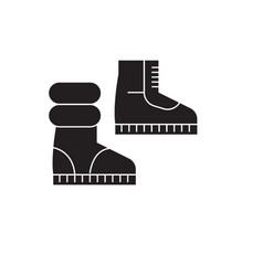 winter boots black concept icon winter vector image