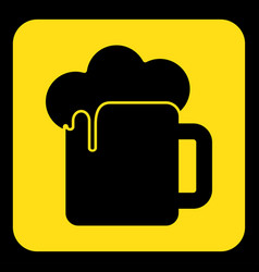 yellow black sign - beer with foam icon vector image