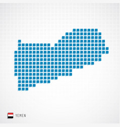 yemen map and flag icon vector image