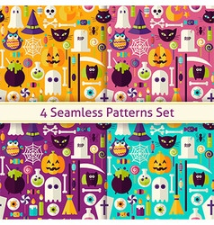 Four Flat Seamless Scary Halloween Patterns Set vector image vector image