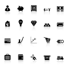 Money icons with reflect on white background vector image