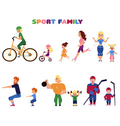 people parents and kids doing sport activities vector image