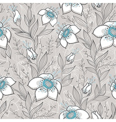 seamless pattern with blue and white flowers vector image