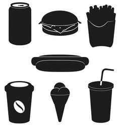 set icons of fast food black silhouette vector image