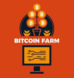 financial concept of bitcoin farm vector image