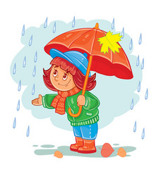 icon of small girl with an umbrella vector image