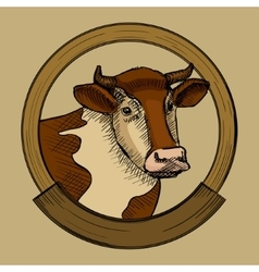Label for cow meat sketch style vector image