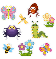 sticker design with bugs and insects vector image