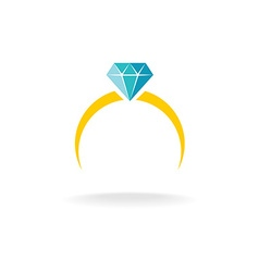 Wedding engagement ring simple color logo with vector image vector image