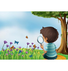A young boy holding a magnifying lens at the vector image vector image