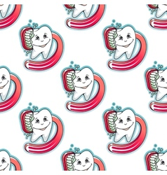 Cartoon tooth and brush seamless pattern vector