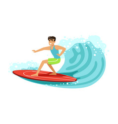 cheerful male surfer riding a big wave water vector image vector image