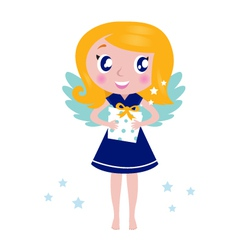 happy little christmas angel child vector image