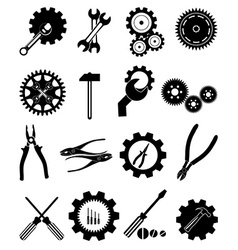 Settings tools icons set vector image