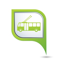 trolleybus icon on green map pointer vector image