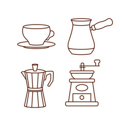 coffee making and drinking equipment icons vector image