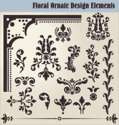 floral ornate elements vector image
