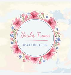 Floral round border watercolor vector