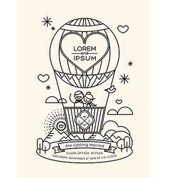 Modern wedding invitation with line art style vector image vector image