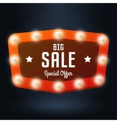red banner with text Big Sale Billboard in retro vector image