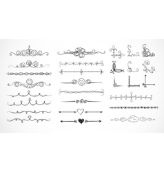 Set of doodle sketch decorative dividers vector