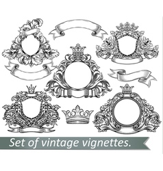 Set of vintage emblem with crowns and ribbons vector image