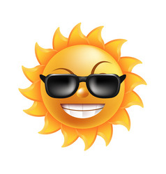 sun with funny face in sunglasses isolated vector image vector image