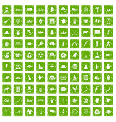 100 map icons set grunge green vector image