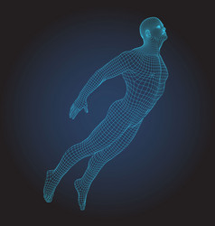 3d wire frame human bodyjumping flying figure vector image