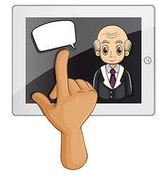 A computer gadget with a hand touching vector image