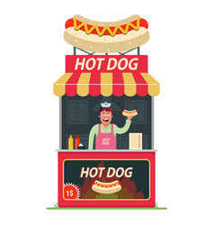 a hot dog stall with cheerful seller inside vector image