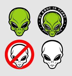 Alien face icon set humanoid head vector