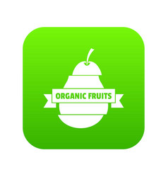 bio organic fruits icon green vector image