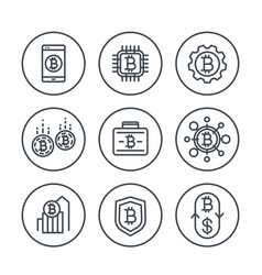 bitcoin investments payments exchange line icons vector image