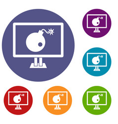 bomb on computer monitor icons set vector image