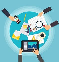 Business teamwork Creative team desktop top view vector