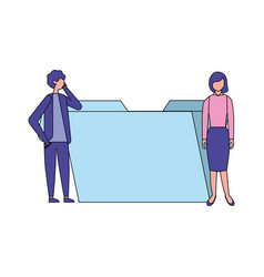 Businessman and woman folder file vector