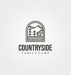 cabin with mountain outdoor logo symbol design vector image