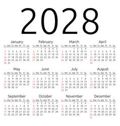 Calendar 2028 sunday vector
