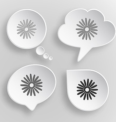Camomile White flat buttons on gray background vector image