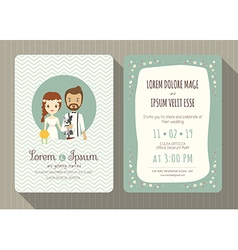 cartoon wedding invitation card template vector image