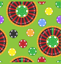 casino fortune wheel roulette gambling game chips vector image