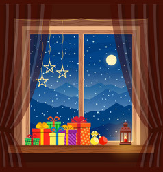 christmas gifts on window with garlands candle vector image