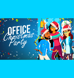 christmas party in office young man woman vector image