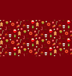 christmas sweets candy seamless red pattern vector image